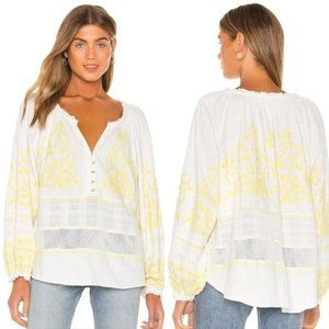 Free People S Neon Embroidered Swing Blouse NWT